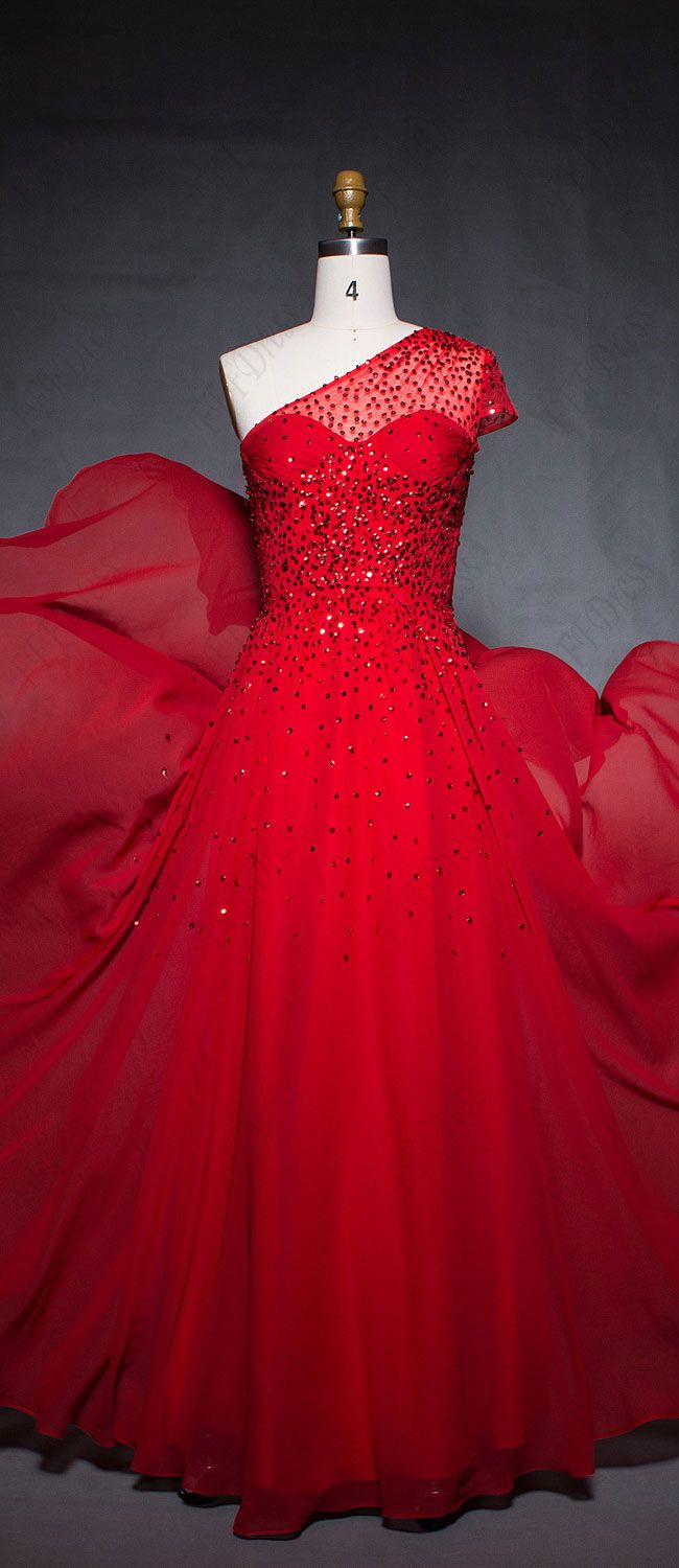 Red prom dress long one shoulder cap sleeves prom dresses beaded