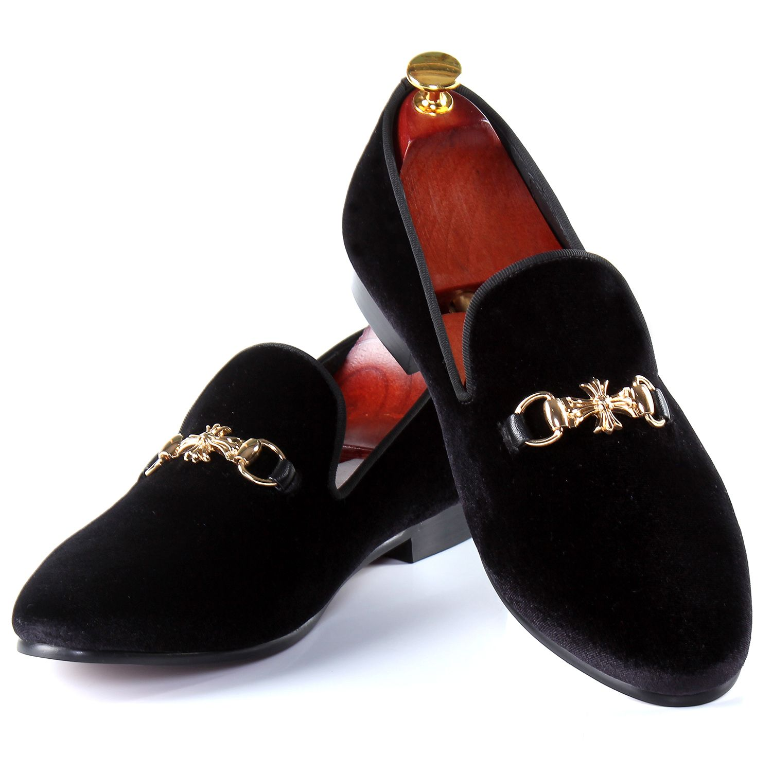 fc3c741a500 Harpelunde Men Flats Buckle Strap Dress Shoes Black Velvet Loafers Free  Shipping Size 7-14