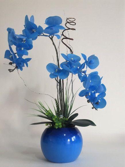 Orquideas Artificiais Silicone Azul Na Porcelana Azul Arranjos