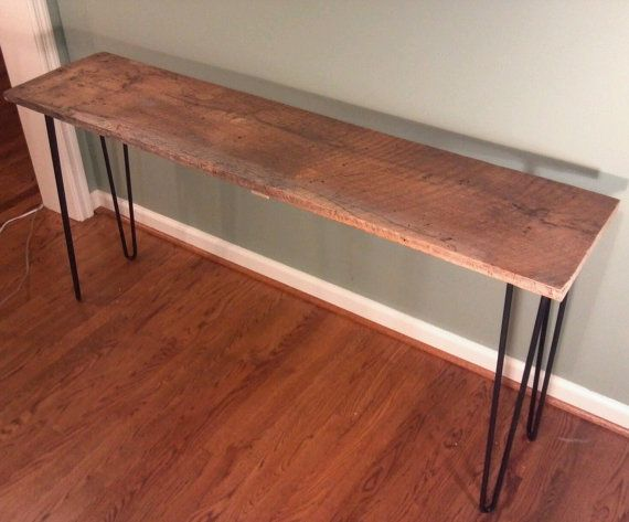 Reclaimed wormy chestnut console table with iron hairpin legs