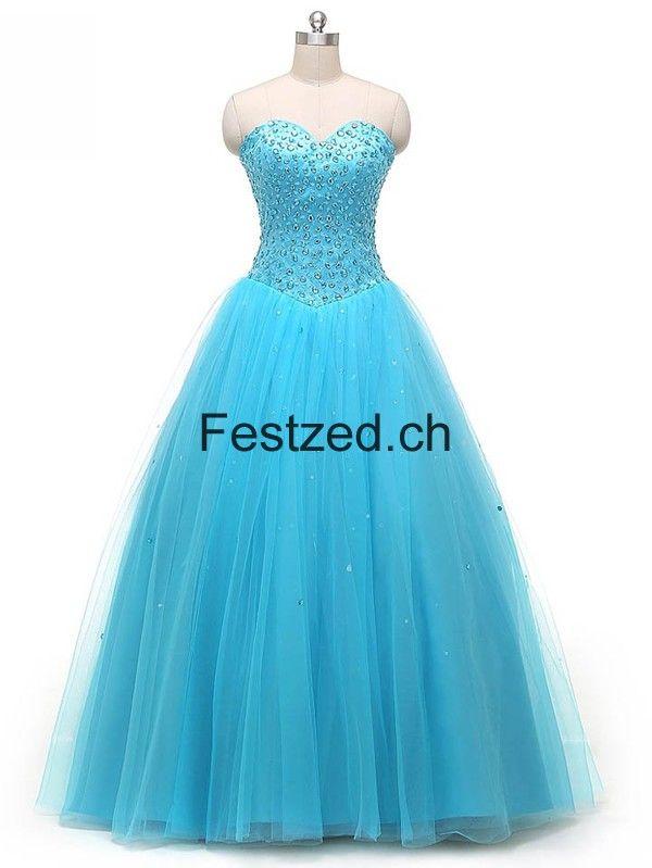 Blau Herzausschnitt Perlen Ballkleid Tüll Quinceanera Kleider