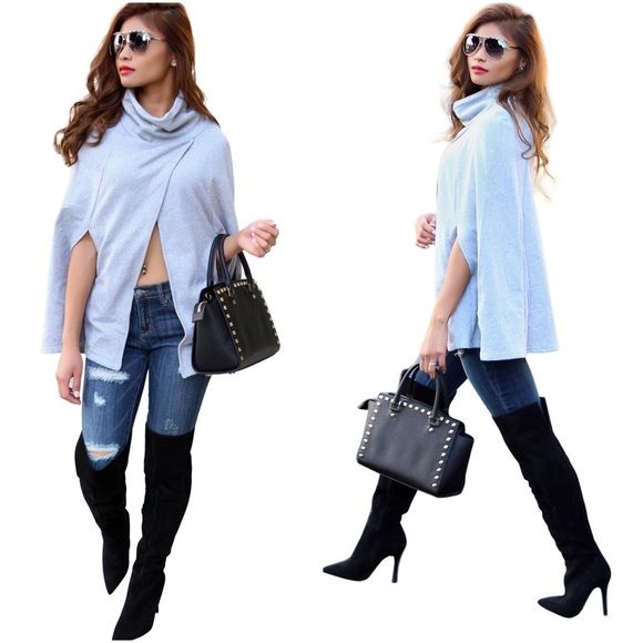 Grey fashion cape Grey cape available in S,M,L you can get this head to toe look just ask me, shoes by Aldo and purse by Micheal kors Optional Jackets & Coats Capes