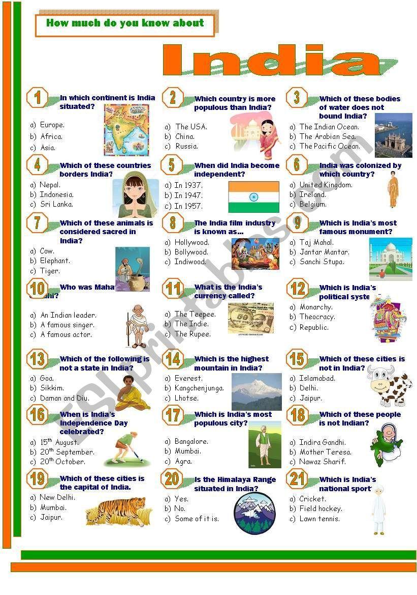 India Esl Worksheet By Jayce General Knowledge For Kids Social Studies Worksheets General Knowledge Book [ 1169 x 821 Pixel ]