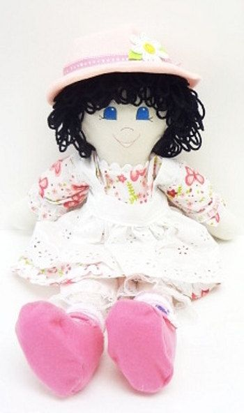handmade fabric rag doll black curly hair, pink butterflies pink felt hat cloth doll ragdoll hand made rag doll, NF183