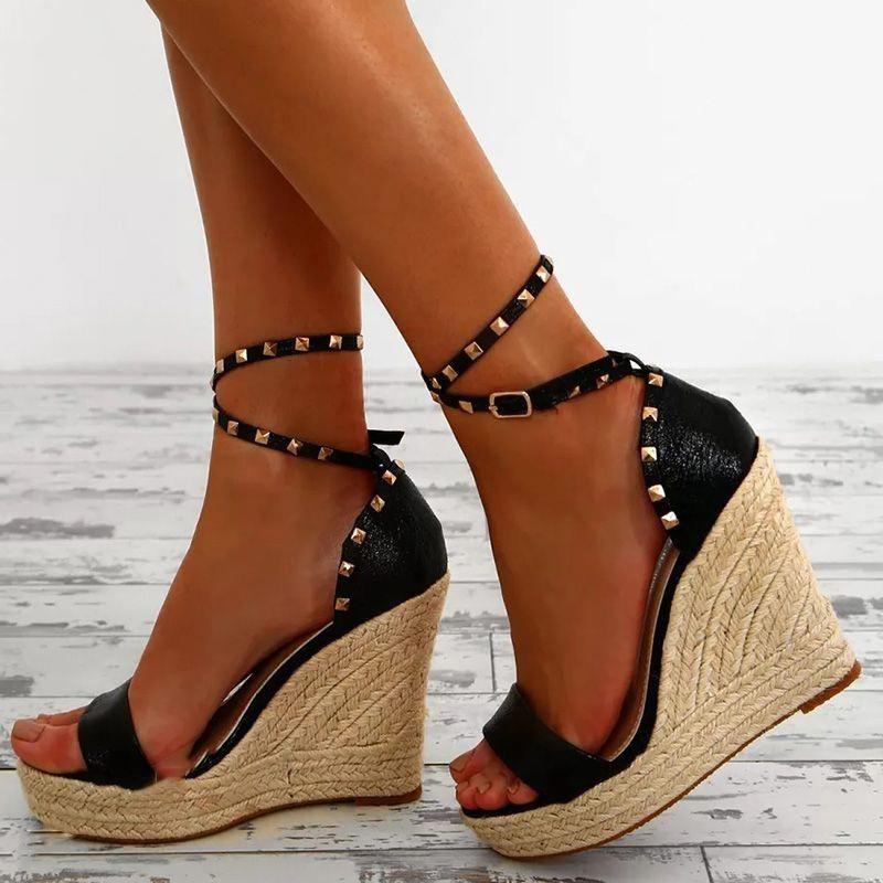 1489b05f87 Shoespie Rivet Open Toe Wedge Sandals #Highheels | High heels ...