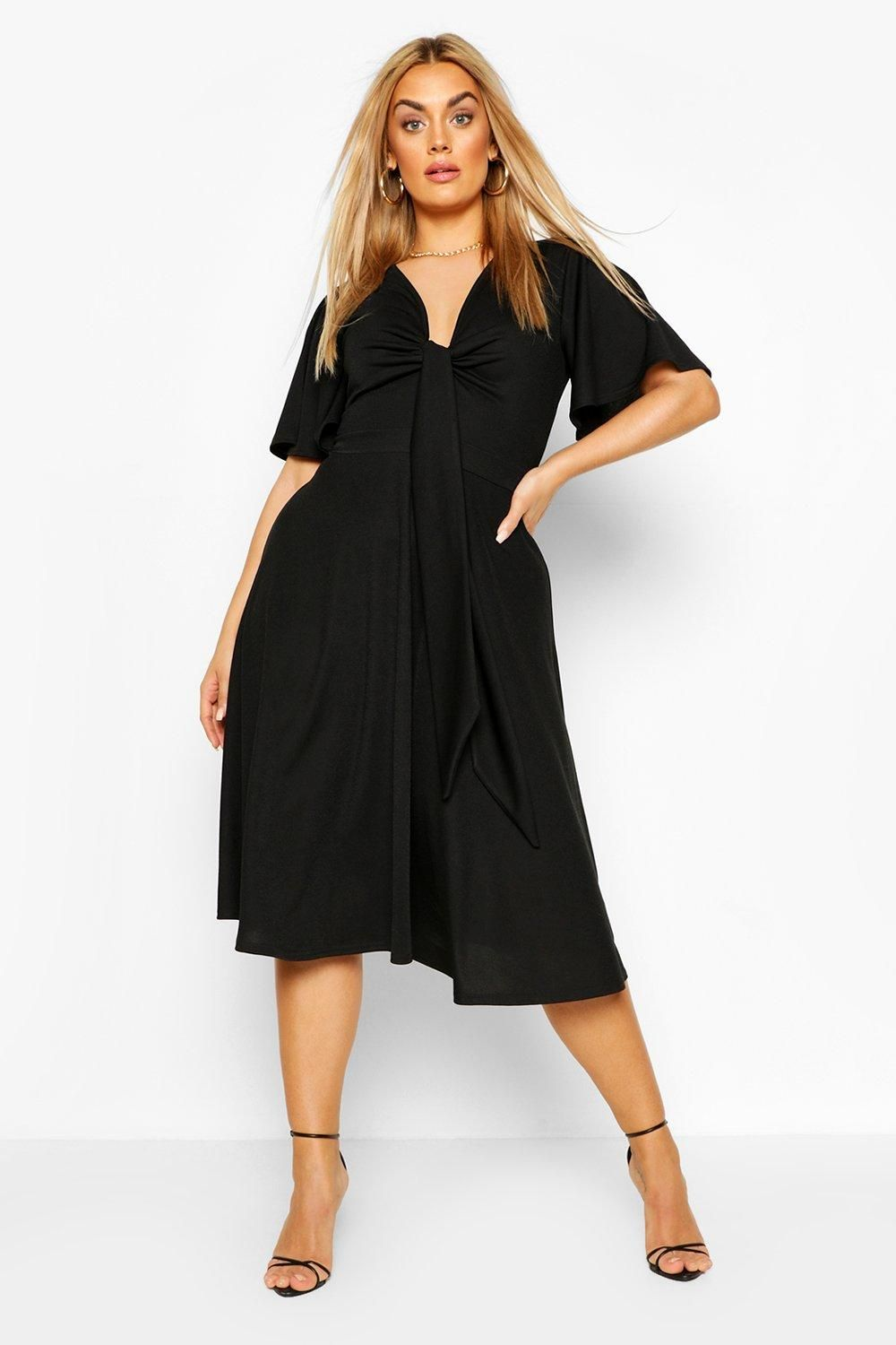 Plus Tie Front Angel Sleeve Midi Dress Boohoo Midi Dress With Sleeves Bodycon Fashion Womens Skirt Outfits [ 1500 x 1000 Pixel ]