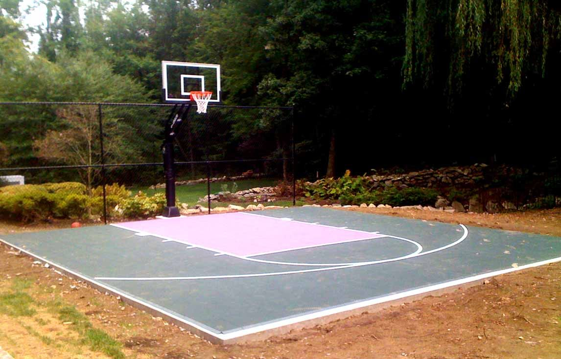 Backyard basketball court layout tips and dimensions for Home basketball court size
