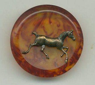 ButtonArtMuseum.com - Tortoiseshell Bakelite Buttons Equestrian Horse Motif