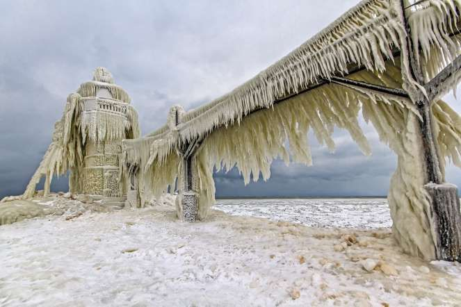 Ice on the entrance light to St. Joseph, Mich. - Joshua Bozarth/Getty Images