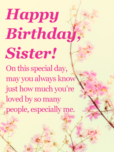 Charming Flower Happy Birthday Card for Sister