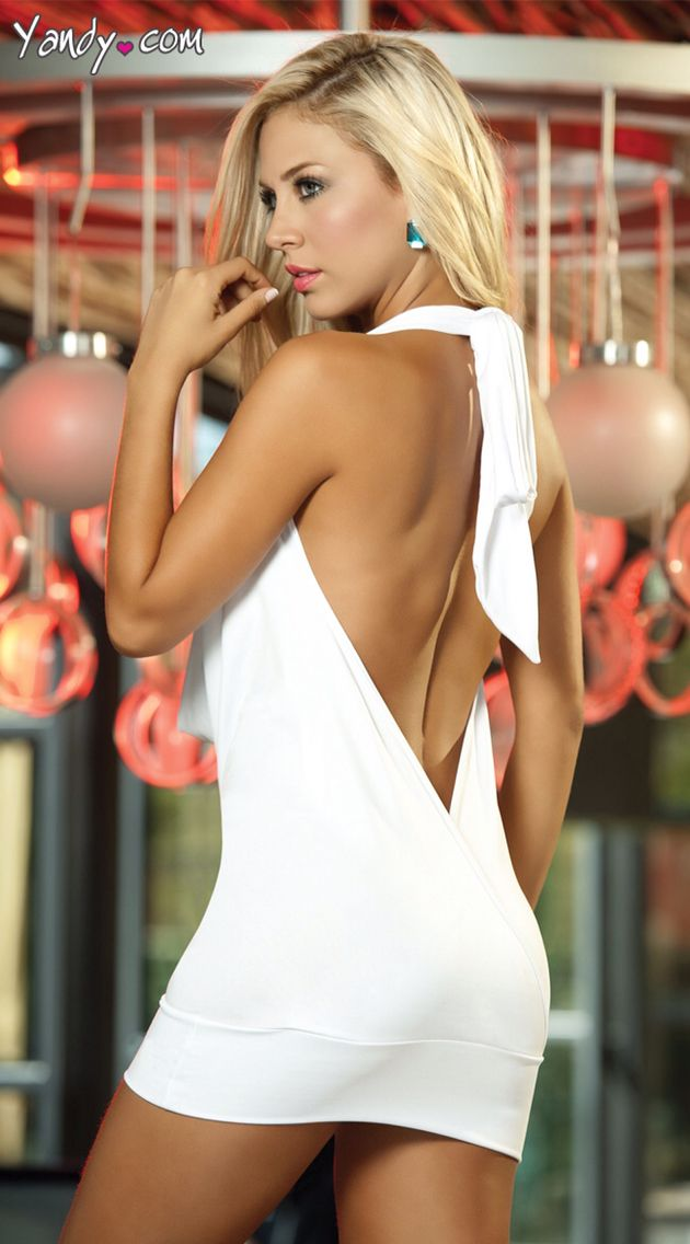 Deep V Front Party White Dress 2