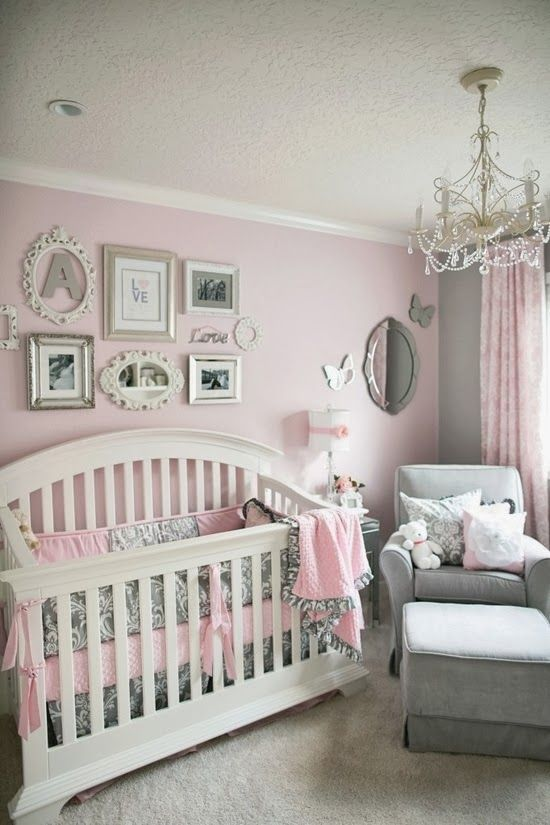 I Love The Idea Of A Decorative Chandelier In Baby S Room Pink Grey Color Scheme And Wall Art Is Really Beautiful