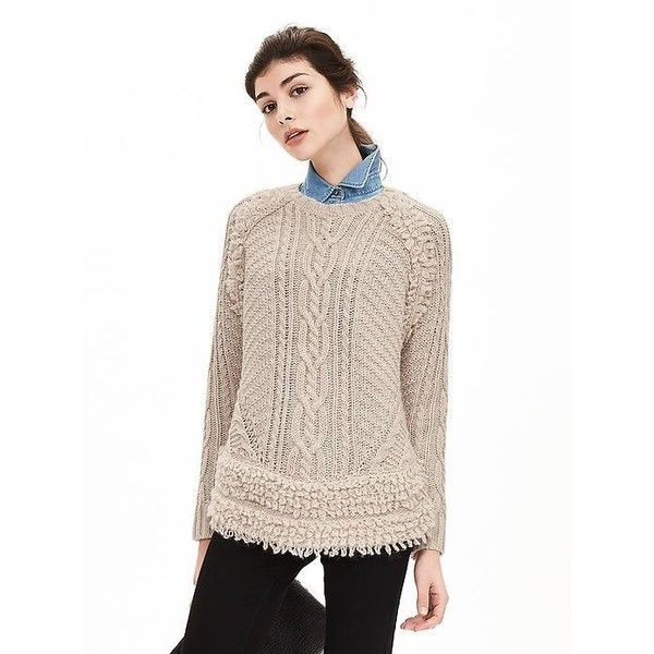 ab5c388ca5c62 Banana Republic Womens Fringe Hem Cable Knit Sweater Pullover Size XS...  ( 98) ❤ liked on Polyvore featuring tops