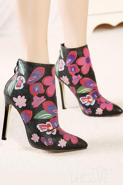 Floral Print Back Zipper Ankle Boots