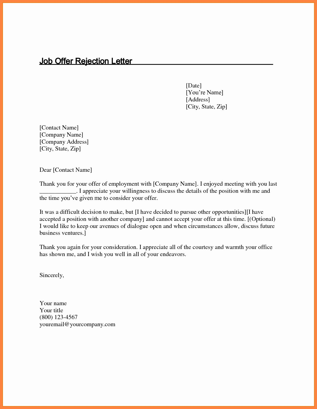 Sample Job Offer Rejection Letter from i.pinimg.com