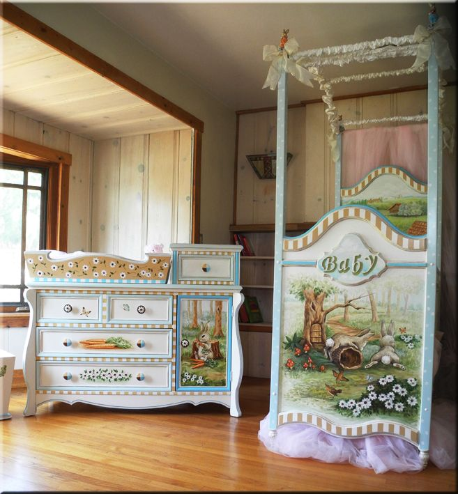 Hand Painted Crib And Dresser By Villabella Baby Furniture