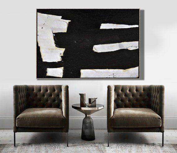 Horizontal Black And White Minimalist Art Modern Minimal Painting On Canvas Large Livin