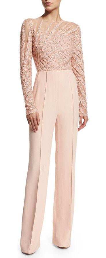 316f631e7973 Long-sleeve embellished jumpsuit by Elie Saab. Elie Saab linear-beaded  jumpsuit. Jewel neckline. Long sleeves. Fitted bodice  wide legs. Seam ac.