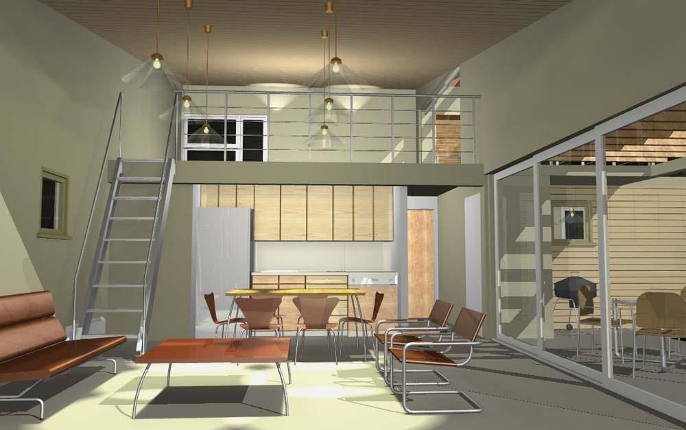 Interior view of small modern home with open loft and open kitchen plan.