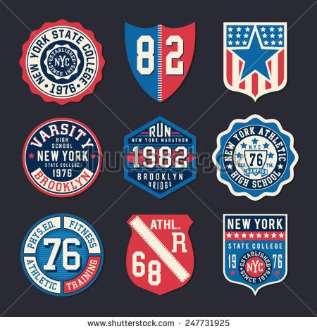 Athletic shield typography, t-shirt graphics, vectors