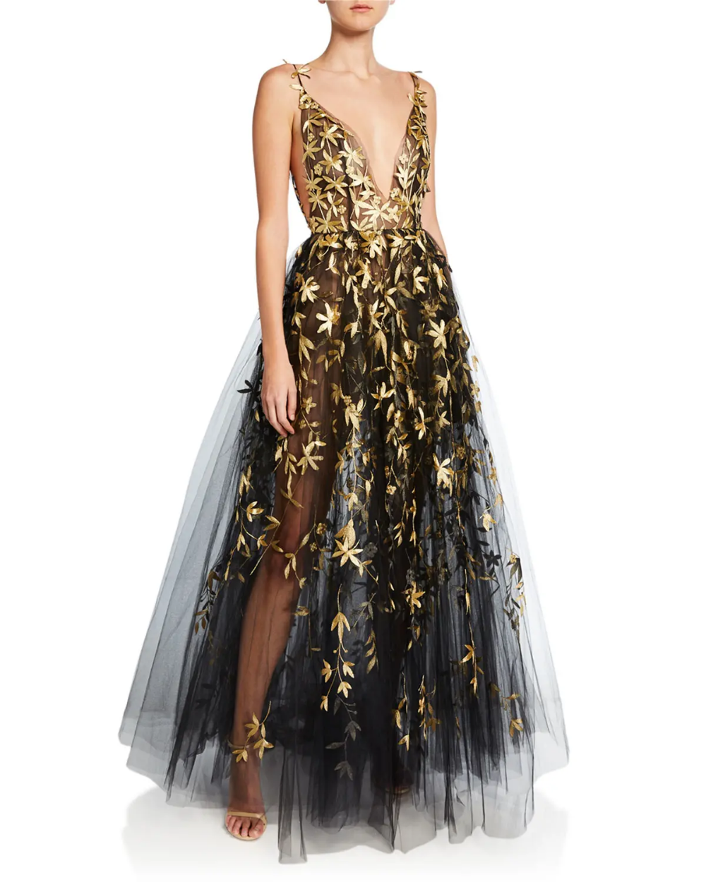 Oscar De La Renta Golden Floral Embroidered Tulle Illusion Gown In