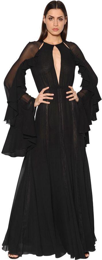 Ruffled Cutout Silk Georgette Dress