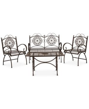 Delfina Outdoor 4-Pc. Seating Set (1 Loveseat, 2 Chairs & 1 Coffee Table), Quick Ship - Brown