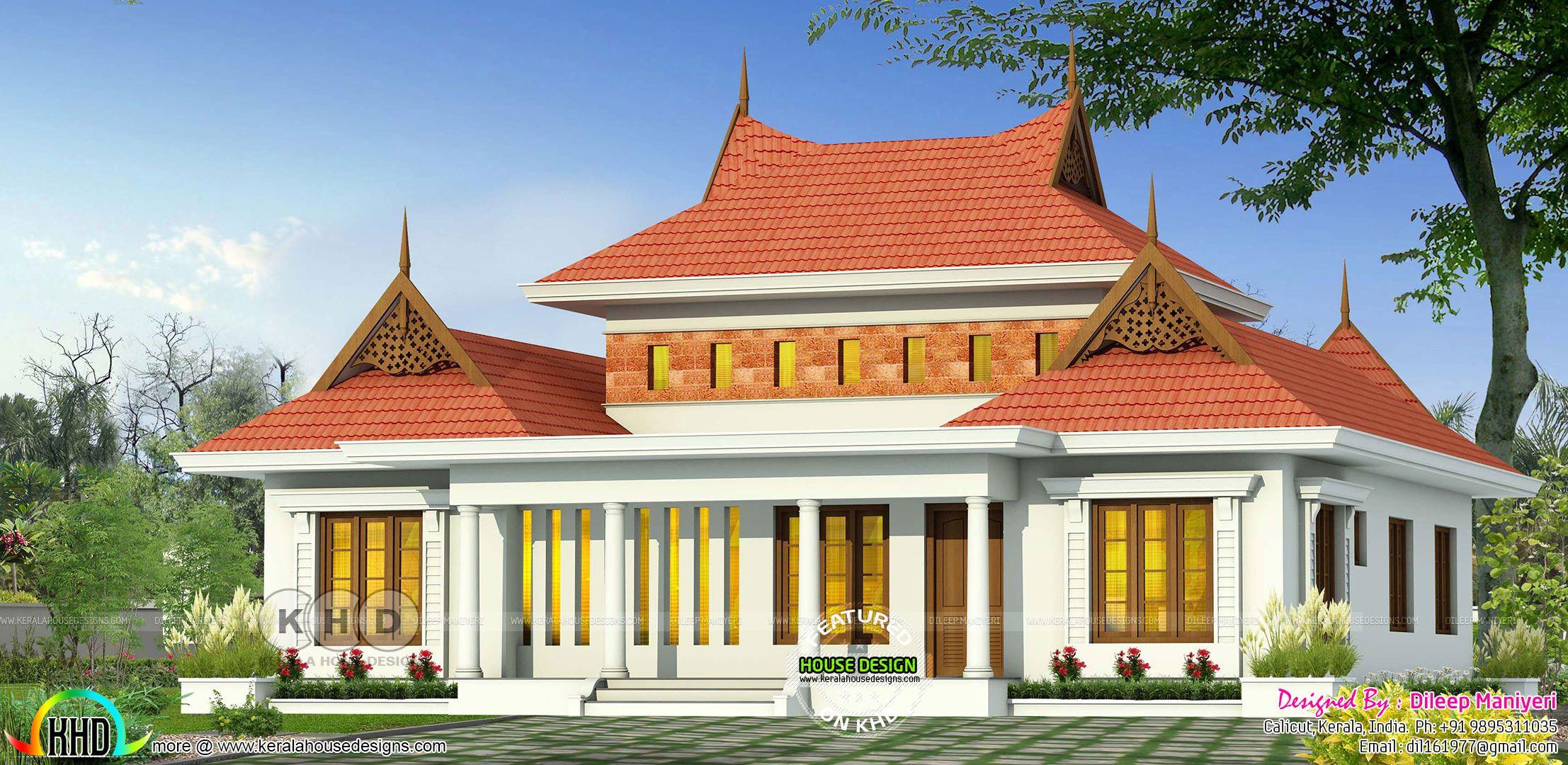 Traditional 4 BHK sloping roof Kerala home design | Kerala ...