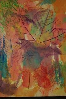 Crayon rubbings (leave behind the paper, vein side up) +