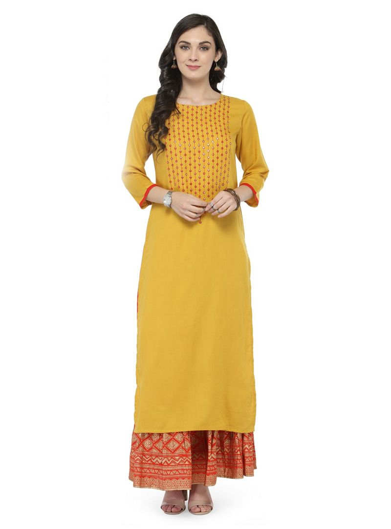 4d2dec26578 Shop Yellow Rayon Readymade Kurti 149136 online at best price from vast  collection of designer kurti at Indianclothstore.com.
