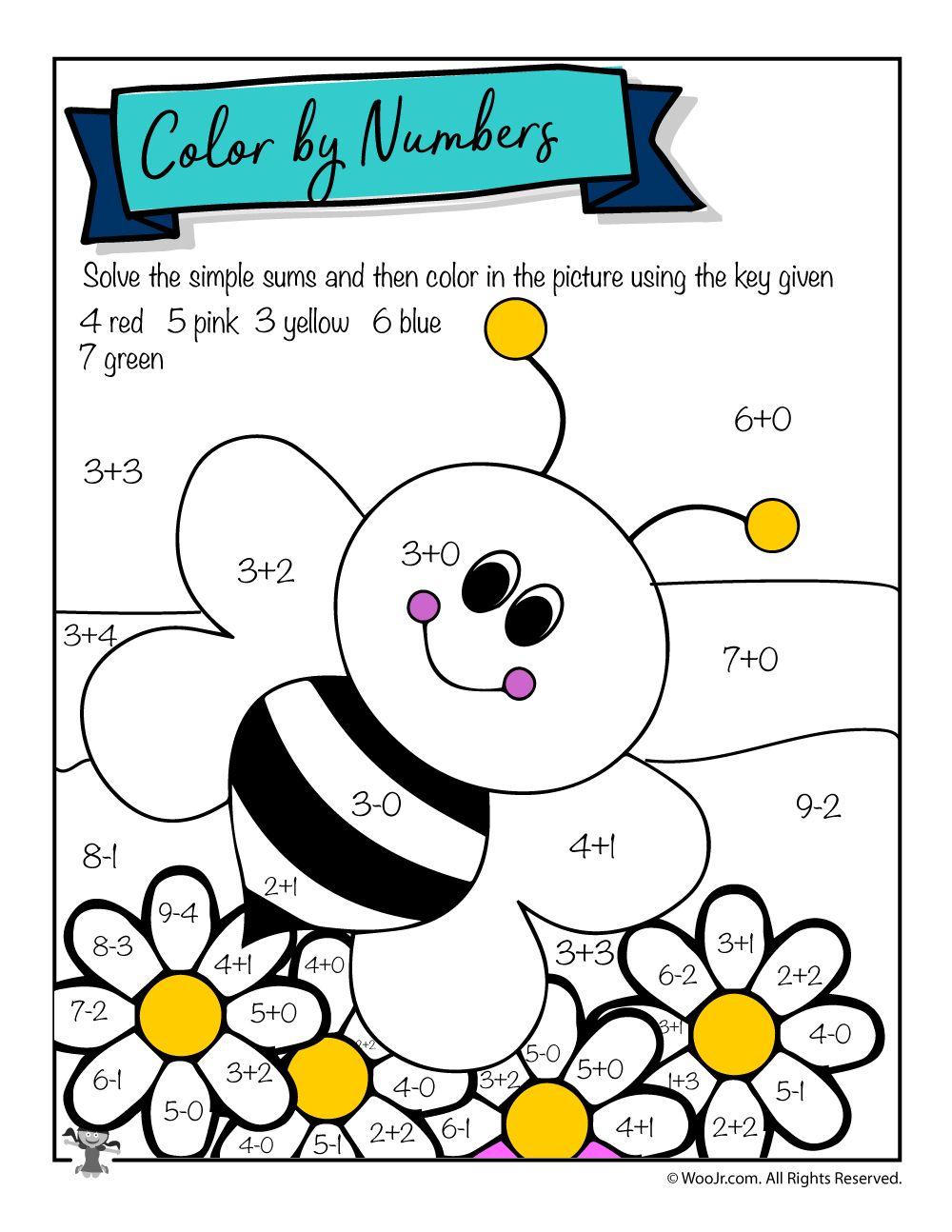 Single Digit Math Coloring Worksheet Woo Jr Kids Activities Math Coloring Spring Math Worksheets Math Coloring Worksheets [ 1294 x 1000 Pixel ]