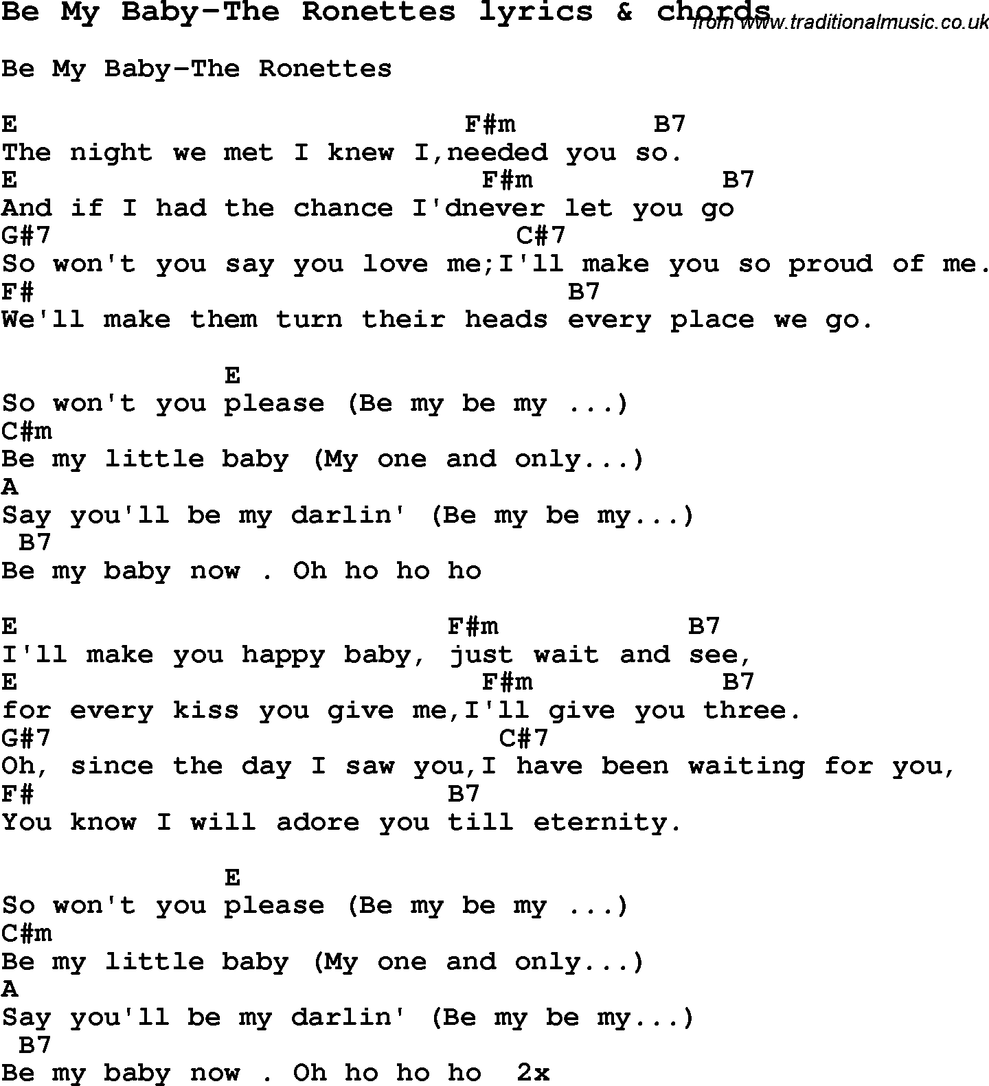Love Song Lyrics For Be My Baby The Ronettes With Chords For