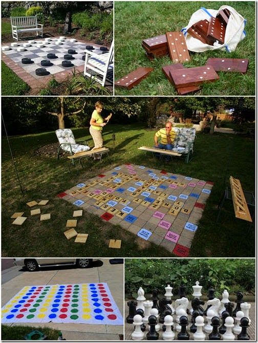 Diy Giant Outdoor Scrabble Via Listotic Yes Please Made With Craft Store Wood Plaques And Pavers Backyard Games Outdoor Scrabble Fun Diys