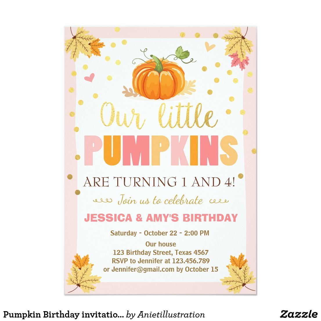Pumpkin Birthday invitation Pink Twin Joint Dual ♥ A perfect way to ...