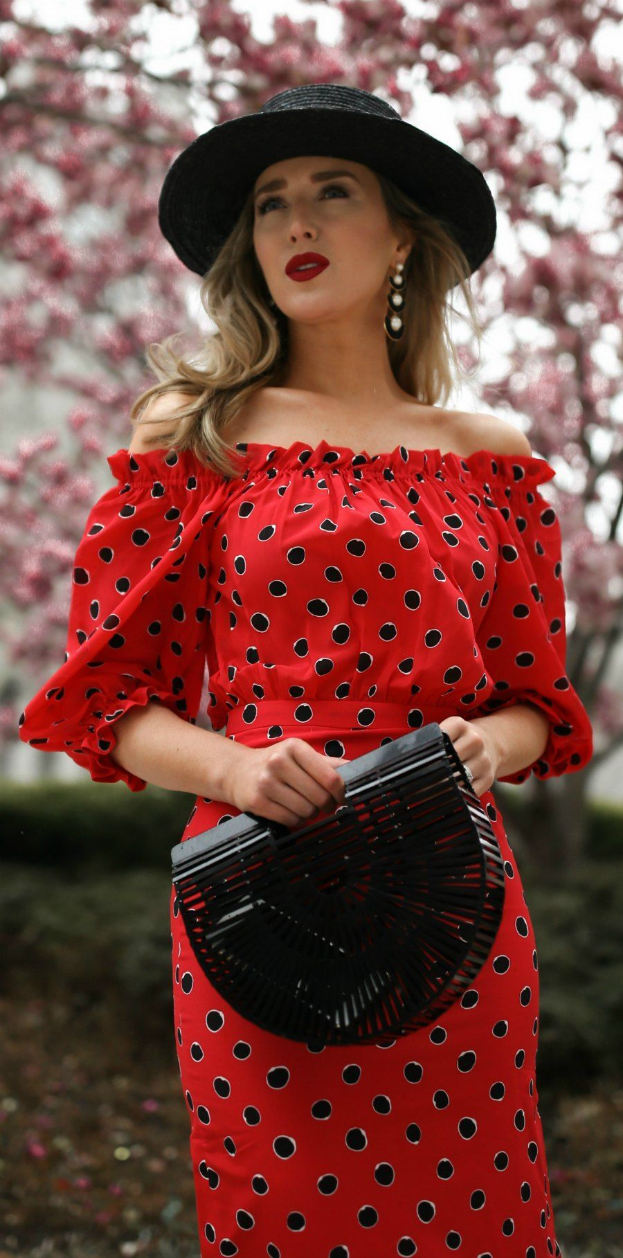 8a3252de12 The prettiest polka dot pieces for Spring    Red polka dot off the shoulder  midi dress