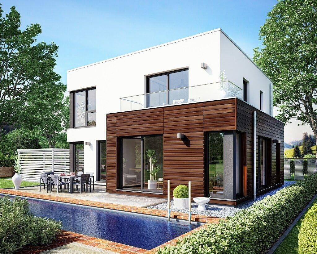 Pin by hausbaudirekt on hausbaudirekt contener house for Haus modern flachdach
