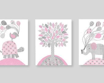 Art culos similares a elefante gris y rosa vivero pared for Decoracion habitacion nina gris y rosa