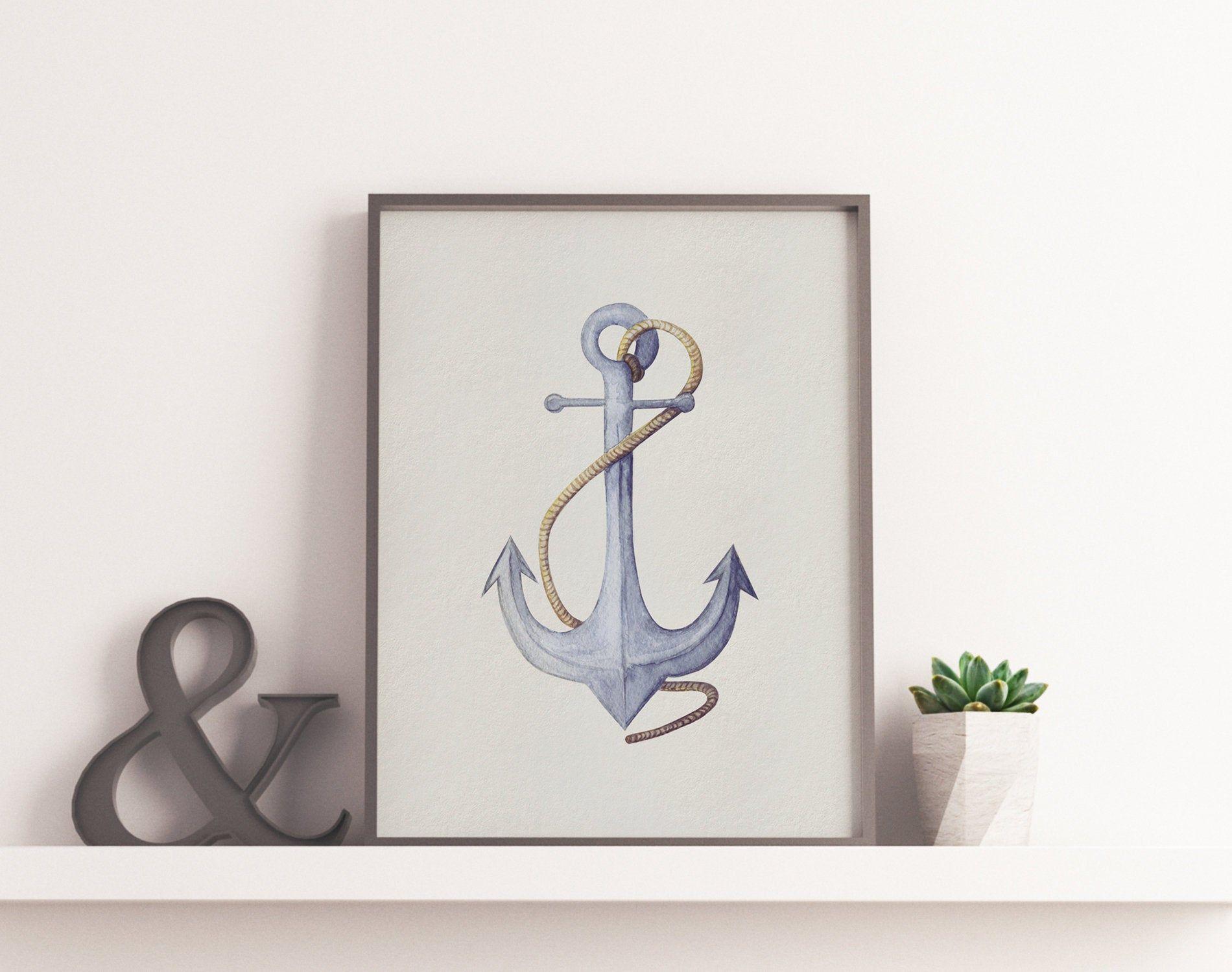 Watercolor Anchor Wall Art Decor Nautical Printable Painting Etsy In 2020 Anchor Wall Art Nautical Print Wall Art Decor