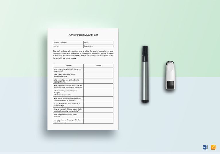 Staff Employee Self-Evaluation Document Design Templates - google spreadsheet templates free