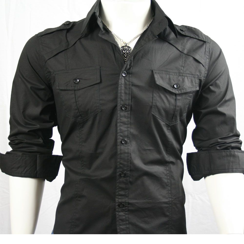 Black Shirt Mens Slim Fit