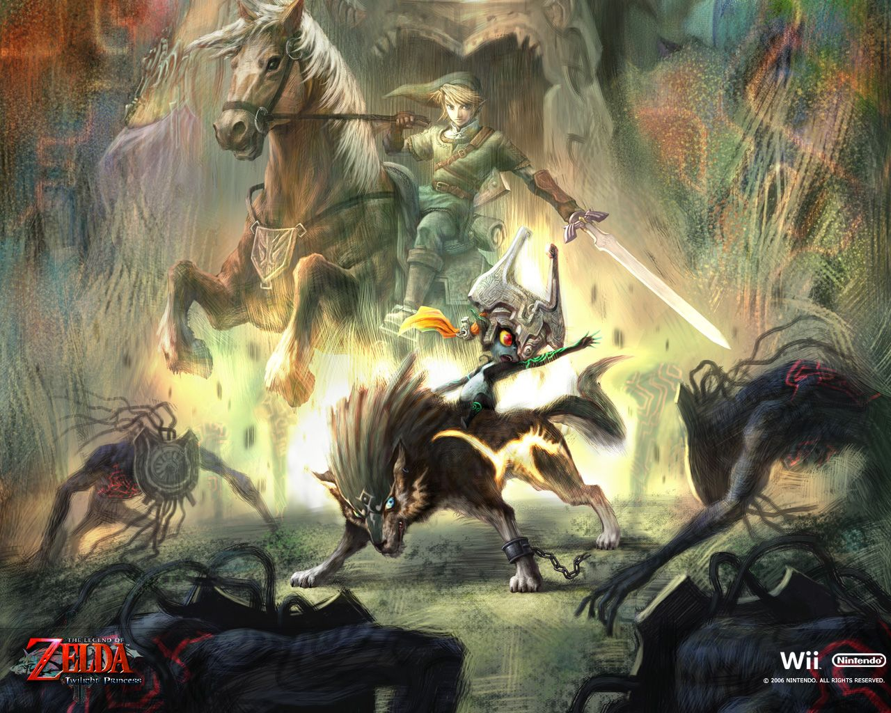 Action-packed artwork from The Legend of Zelda: Twilight Princess (available on Wii and GameCube)