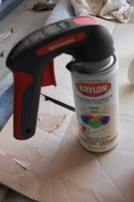 """Best spray paint """"investment"""" ever!  Spray paint hand gun - $6 at Home Depot. Saves your finger and helps spray a nice even coat."""
