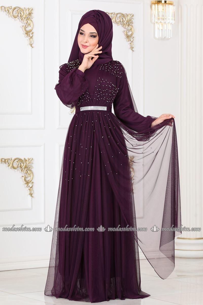 Incili Tul Tesettur Abiye 7368eh211 Murdum Moda Selvim The Dress Resmi Elbise Elbiseler