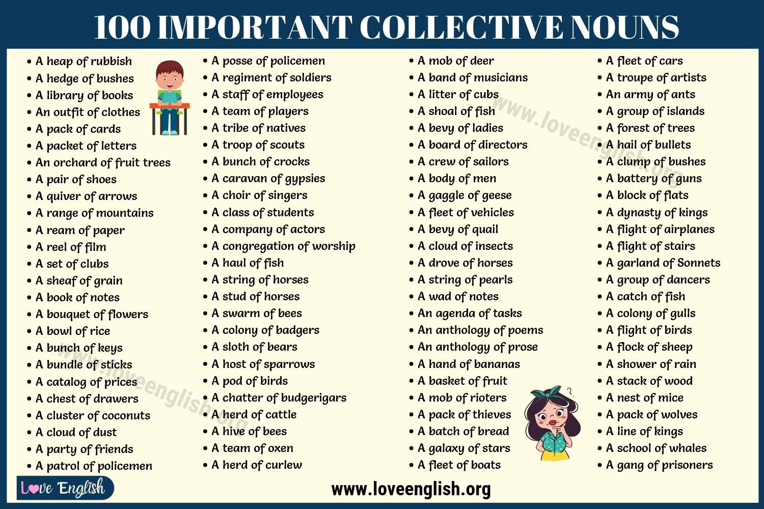 Collective Nouns List 100 Most Important Collective
