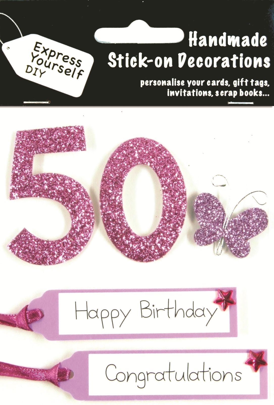 Pink th birthday diy greeting card toppers personalise handmade