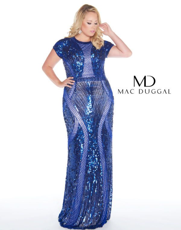 5d22798e6b Mac Duggal - 4676F Sparkling Sequined Illusion Jewel Sheath Dress In Blue Plus  Size Party Dresses