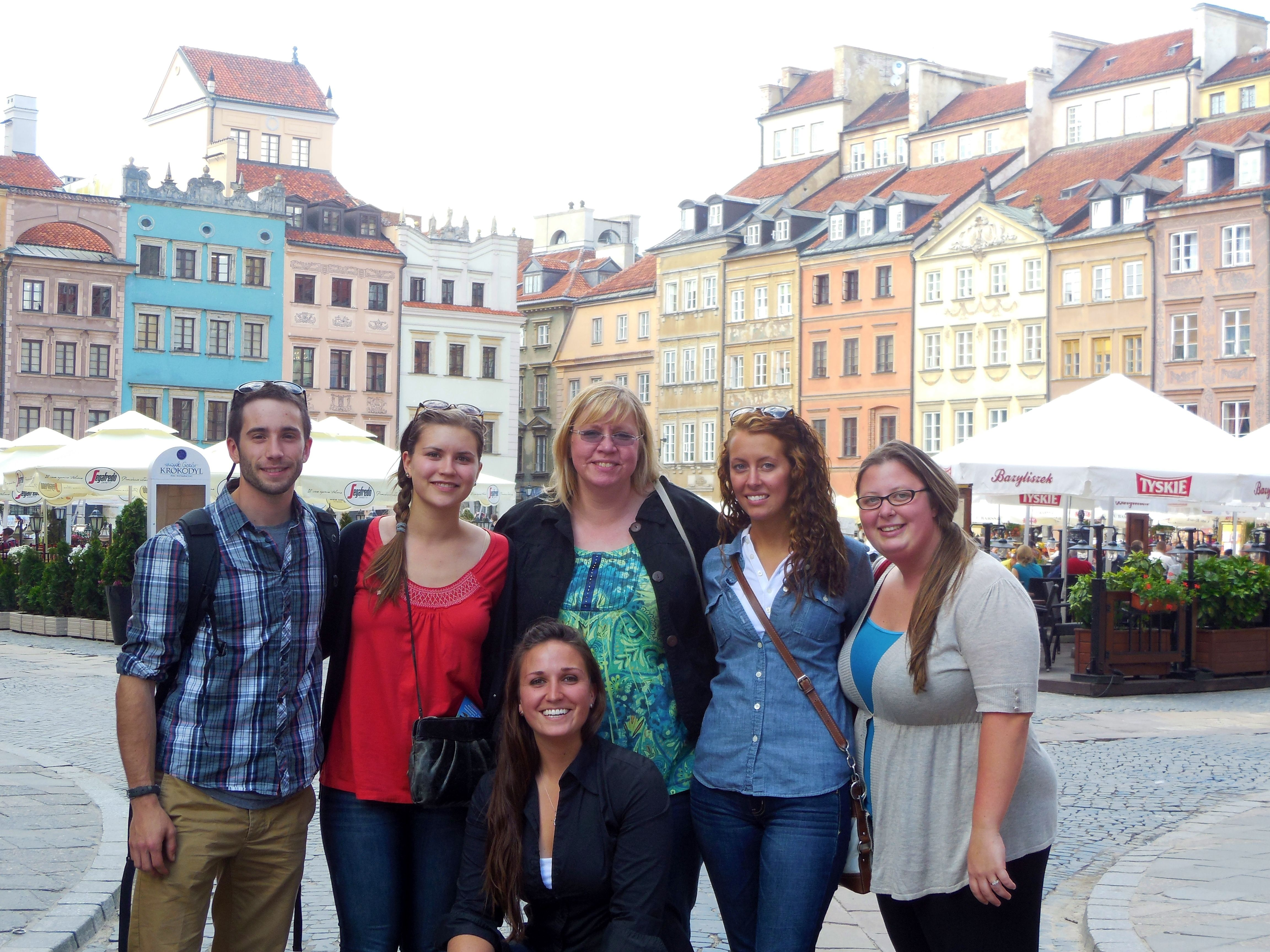 Students in Poland for the Polish Exchange program