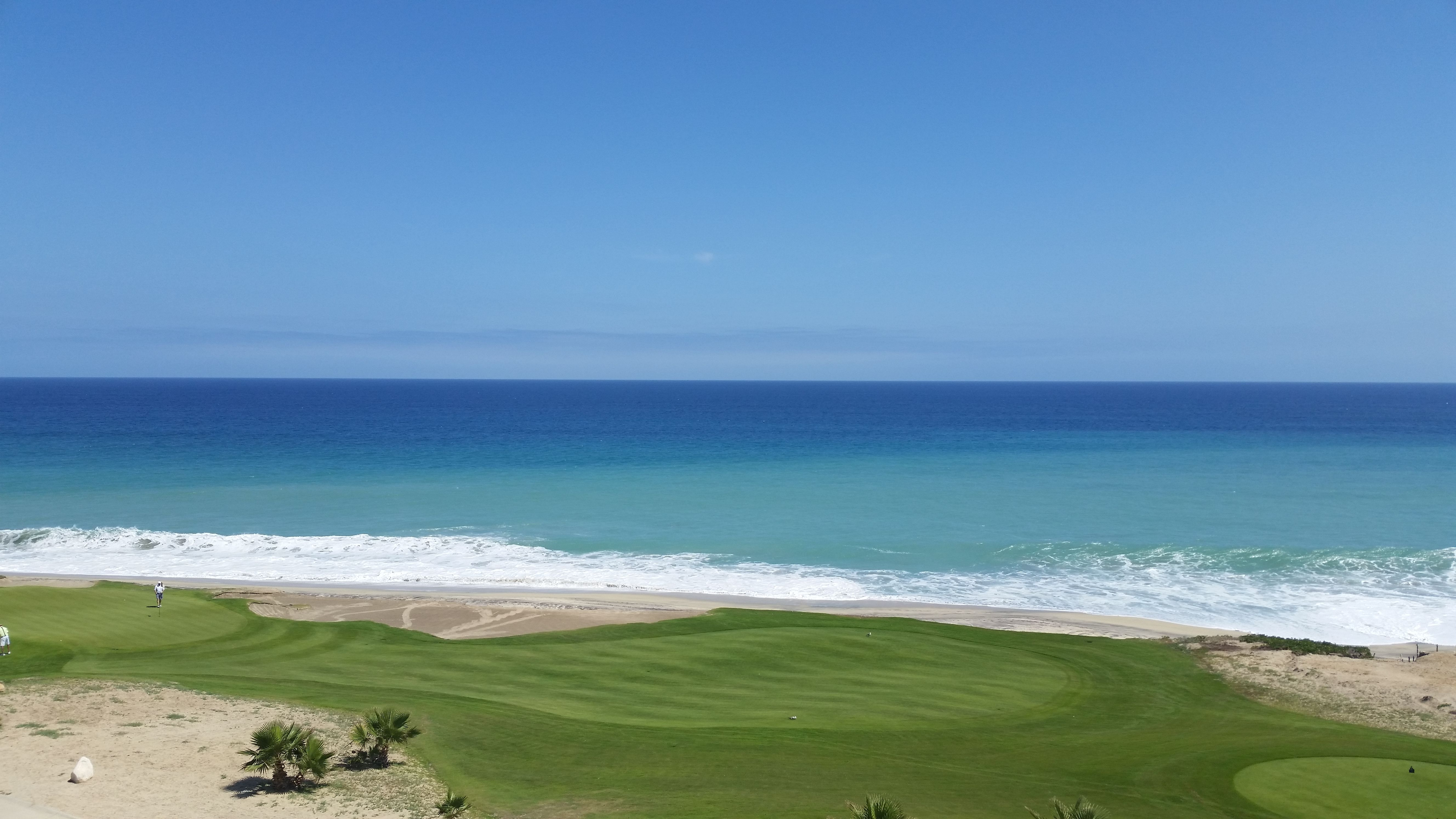 The view from the ocean front suite at Secrets Los Cabos.  Don't plan on swimming in the ocean.  It's pretty rough.