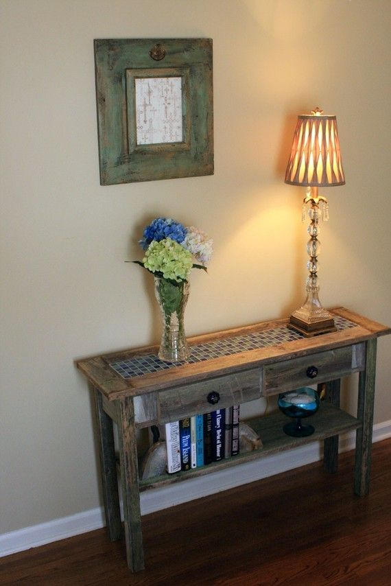 Blue Tile Sofa Table Gray Wood Sofa Table Reclaimed Wood Console