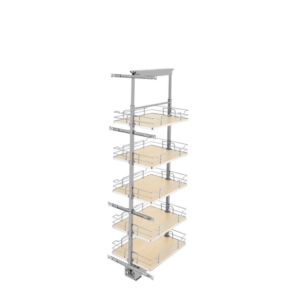 Rev A Shelf 16 In Chrome Maple Solid Bottom Pantry Pullout With Soft Close 5358 16 Mp In 2020 Rev A Shelf Adjustable Shelving Tall Pantry Cabinet